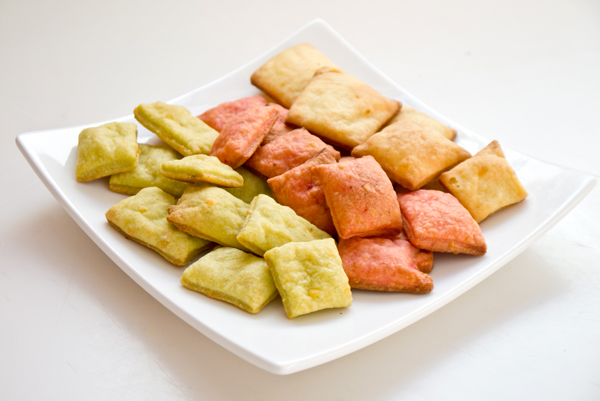 Naturally dyed tri-color cheesy crackers (you know, like those fish ones)