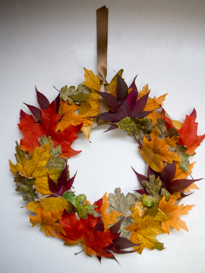 Recycled fall leaf wreath