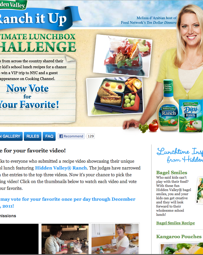 I made the final 3 in the Hidden Valley Ranch Ultimate Lunchbox Challenge!