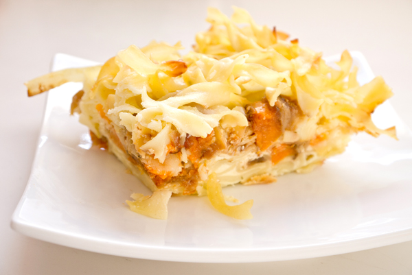 Roasted sweet potato and apple kugel for Easover