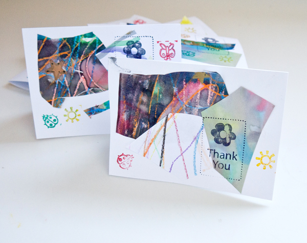 Repurposed artwork thank you cards