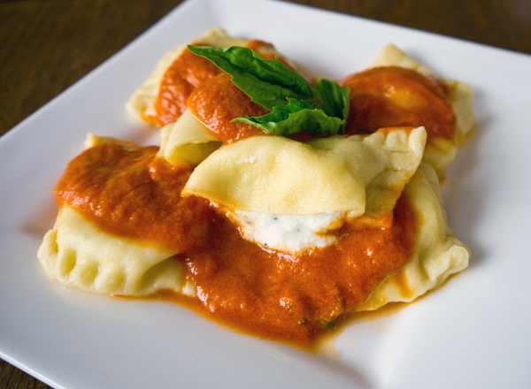 Homemade egg noodle ravioli