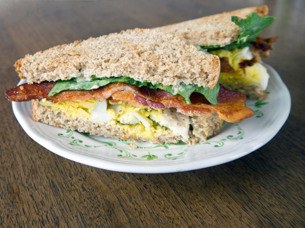 Leftover egg salad sandwich