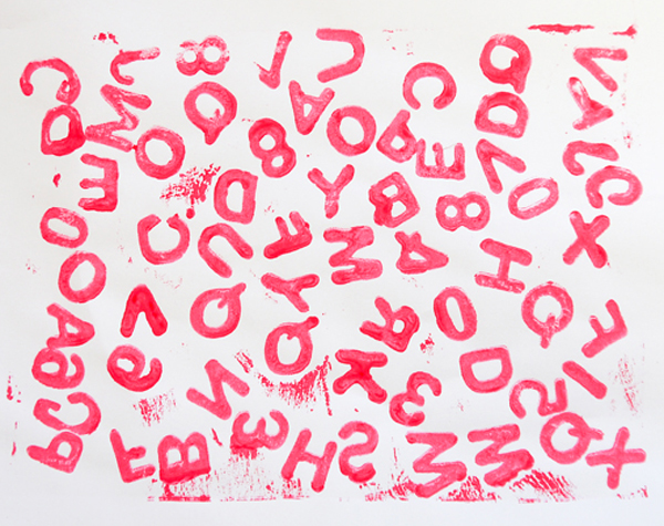 Foam sticker letter and number prints